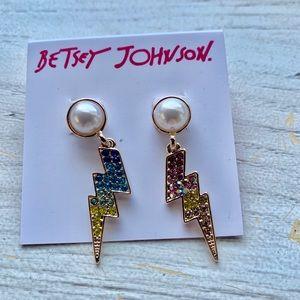 Betsey Johnson lightening bolt earrings.